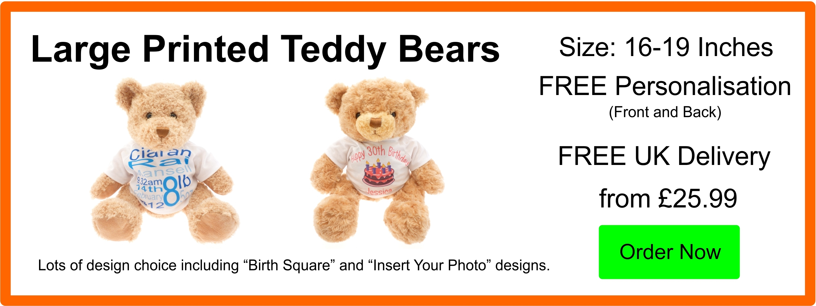 Personalised Large 16 Inch Printed Teddy Bears From £26.99