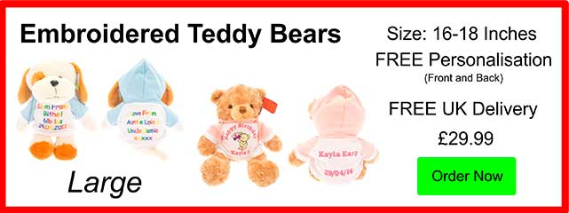 Personalised Large 16 Inch Embroidered Teddy Bears £29.99
