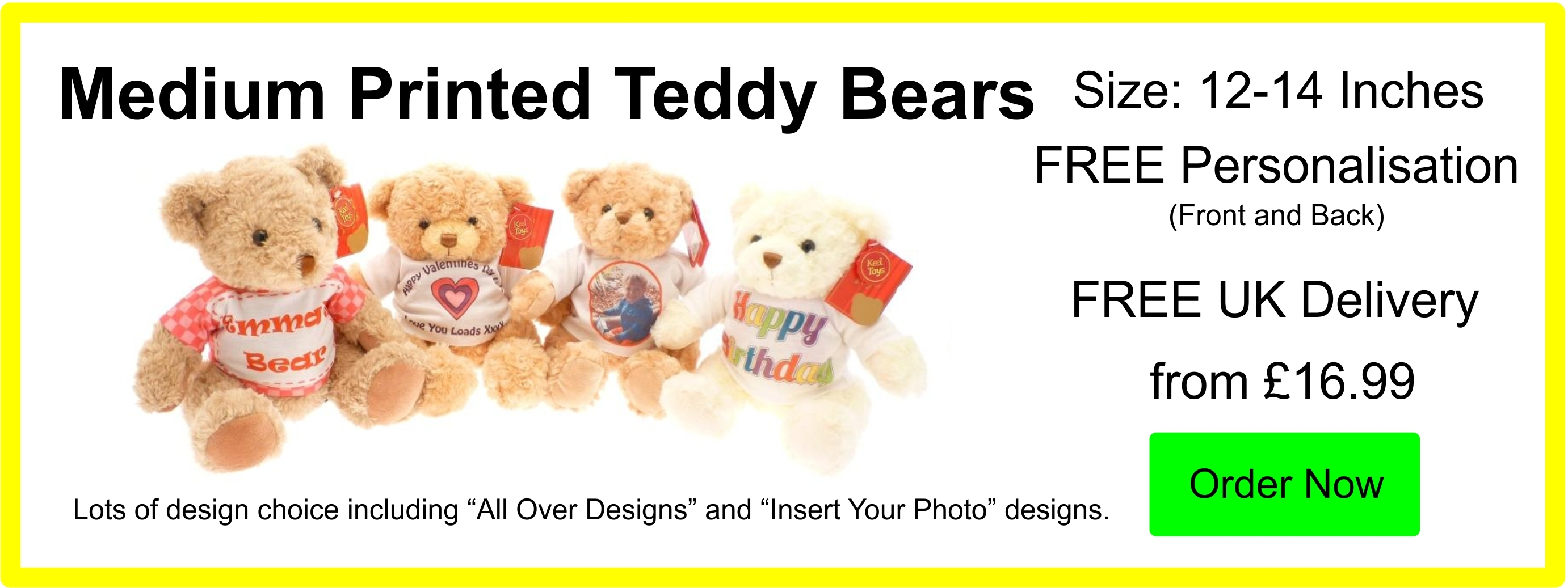 Personalised Medium 10 Inch Printed Teddy Bears from £16.99