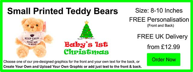 Personalised Small 8 Inch Printed Teddy Bears from £11.99