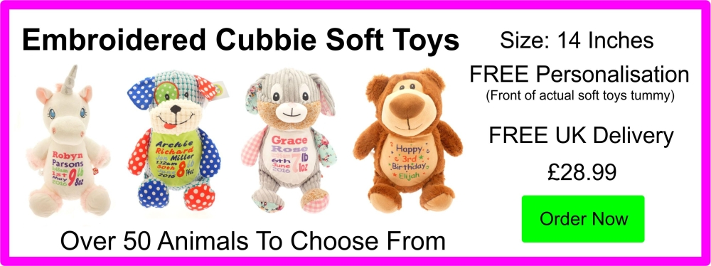 Personalised 14 Inch Embroidered Baby Cubbies Stuffies Soft Toys £24.99