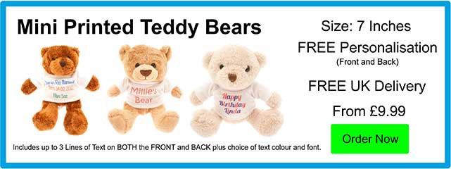 Personalised Mini 6 Inch Printed Teddy Bears Only £9.99