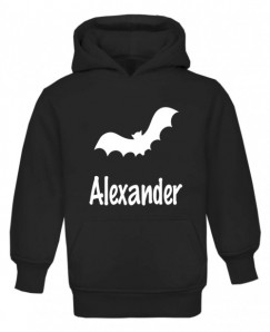 Halloween Bat Silhouette Childrens Glow in Dark Hoodie