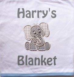 Elephant Applique Design + Text Baby Cotton / Fleece Blanket