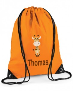 Giraffe Any Name Drawstring Bag