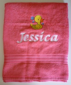 Personalised Bath Towel Embroidered With Any Name + Design