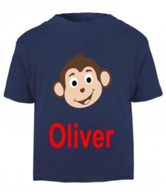 Monkey Any Name Childrens Printed T-Shirt