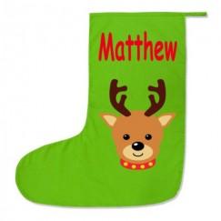 Reindeer Any Name Printed Christmas Stocking