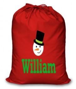 Snowman Any Name Printed Christmas Sack