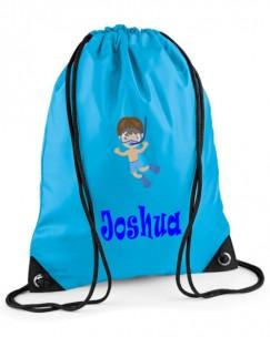 Swimming Boy Any Name Drawstring Bag