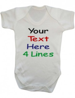 4 Lines Any Text Baby Vest