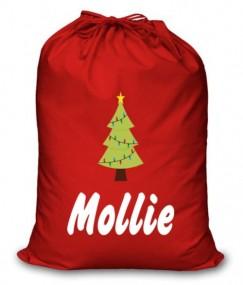 Xmas Tree Any Name Printed Christmas Sack