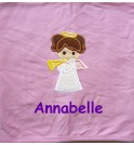Angel Applique Design + Text Baby Cotton / Fleece Blanket