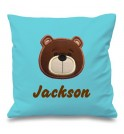 Teddy Bear Face Any Name Embroidered Cushion