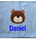 Teddy Bear Face Applique Design + Text Baby Cotton / Fleece Blanket