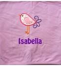 Bird Applique Design + Text Baby Cotton / Fleece Blanket