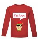 Christmas Boy Elf Any Name Childrens Printed T-Shirt