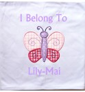 Butterfly Applique Design + Text Baby Cotton / Fleece Blanket