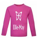 Butterfly Silhouette Any Name Childrens Glow in Dark T-Shirt