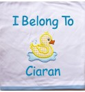 Duck Applique Design + Text Baby Cotton / Fleece Blanket