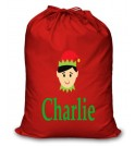 Boy Elf Any Name Printed Christmas Sack