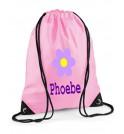 Flower Any Name Drawstring Bag