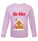 Christmas Gingerbread House Any Name Childrens Printed T-Shirt