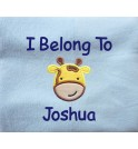 Giraffe Applique Design + Text Baby Cotton / Fleece Blanket