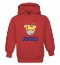 Giraffe Any Name Childrens Embroidered Hoodie
