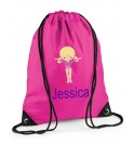 Gymnast Any Name Drawstring Bag