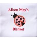 Ladybird Applique Design + Text Baby Cotton / Fleece Blanket