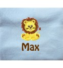 Lion Applique Design + Text Baby Cotton / Fleece Blanket