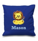 Lion Any Name Embroidered Cushion