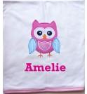 Owl Applique Design + Text Baby Cotton / Fleece Blanket