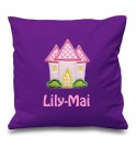 Pink Castle Any Name Embroidered Cushion
