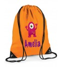Pink Monster Any Name Drawstring Bag