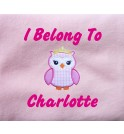 Princess Owl Applique Design + Text Baby Cotton / Fleece Blanket