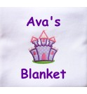 Purple Castle Applique Design + Text Baby Cotton / Fleece Blanket