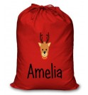 Reindeer Any Name Printed Christmas Sack