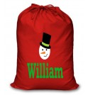 Snowman Any Name Printed Christmas Sack