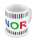 Boy Colours Stripes + Name Mug