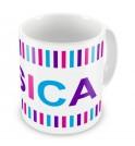 Girl Colours Stripes + Name Mug
