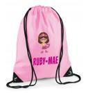 Superhero Girl Any Name Drawstring Bag
