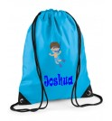 Swimming Boy Any Name Drawstring Bag
