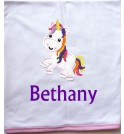 Unicorn Applique Design + Text Baby Cotton / Fleece Blanket