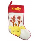 Yellow Reindeer Christmas Stocking