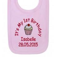 It's My 1st Birthday Cupcake Girl Baby Bib