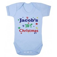 1st Christmas Confetti Boy Any Name Baby Vest