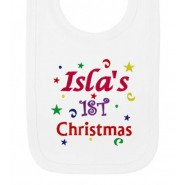 1st Christmas Confetti Girl Any Name Baby Bib
