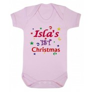 1st Christmas Confetti Girl Any Name Baby Vest